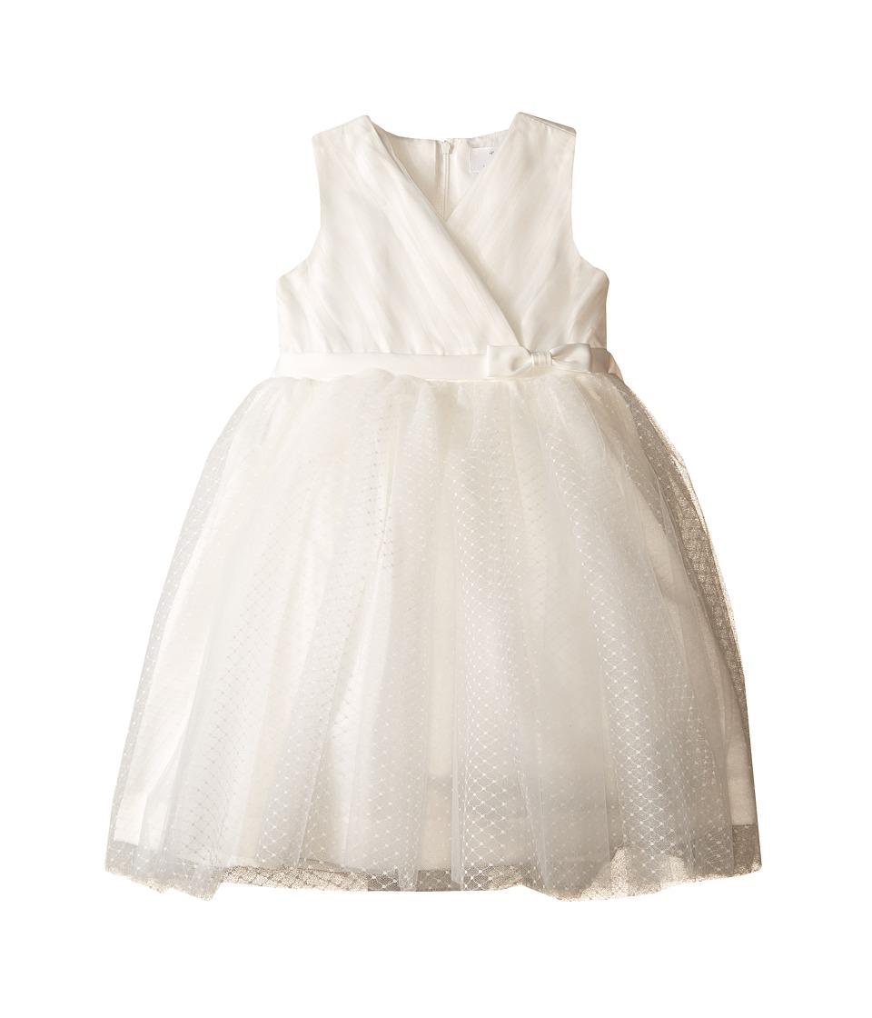 Us Angels - Satin Point d' Espirit Sleeveless Pleated Bodice Full Skirt (Toddler) (Ivory) Girl's Dress