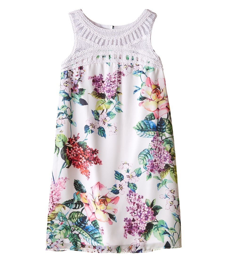 Us Angels - Floral Chiffon Crochet Yoke Trapeze Dress (Big Kids) (White) Girl's Dress