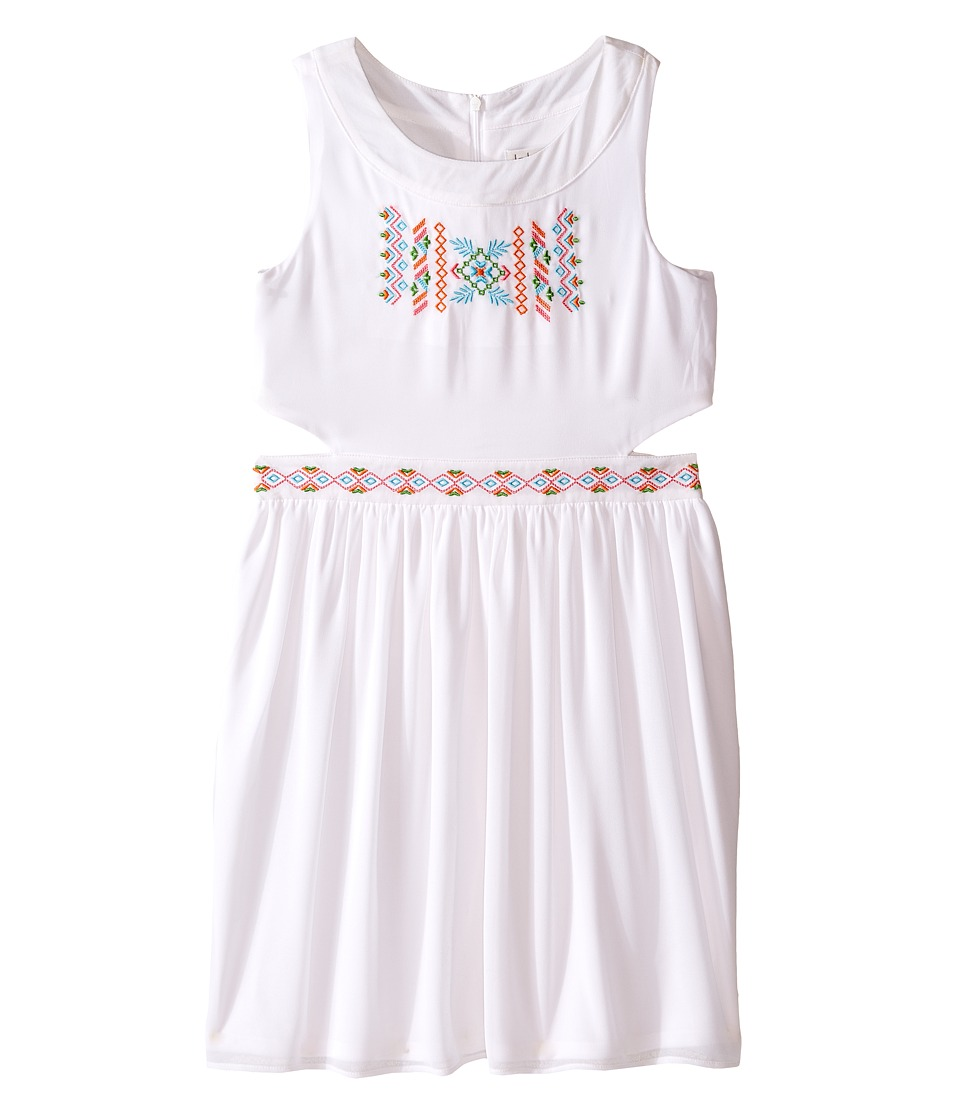 Us Angels - Georgette Tank Ringer w/ Cut Out Bodice Full Skirt (Big Kids) (White) Girl's Dress