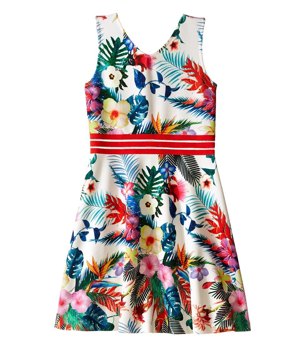 Us Angels - Printed Pique V-Neck Tank Dress w/ Flare Skirt (Big Kids) (White) Girl's Dress