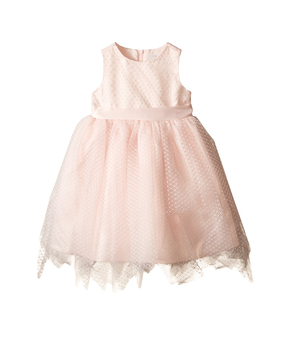 Us Angels - Dot Netting Sleeveless Dress w/ Tiered Hanky Hem Skirt (Infant) (Blush) Girl's Dress