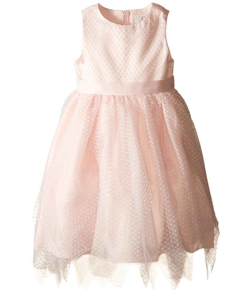 Us Angels - Dot Netting Sleeveless Dress w/ Tiered Hanky Hem Skirt (Toddler) (Blush) Girl's Dress