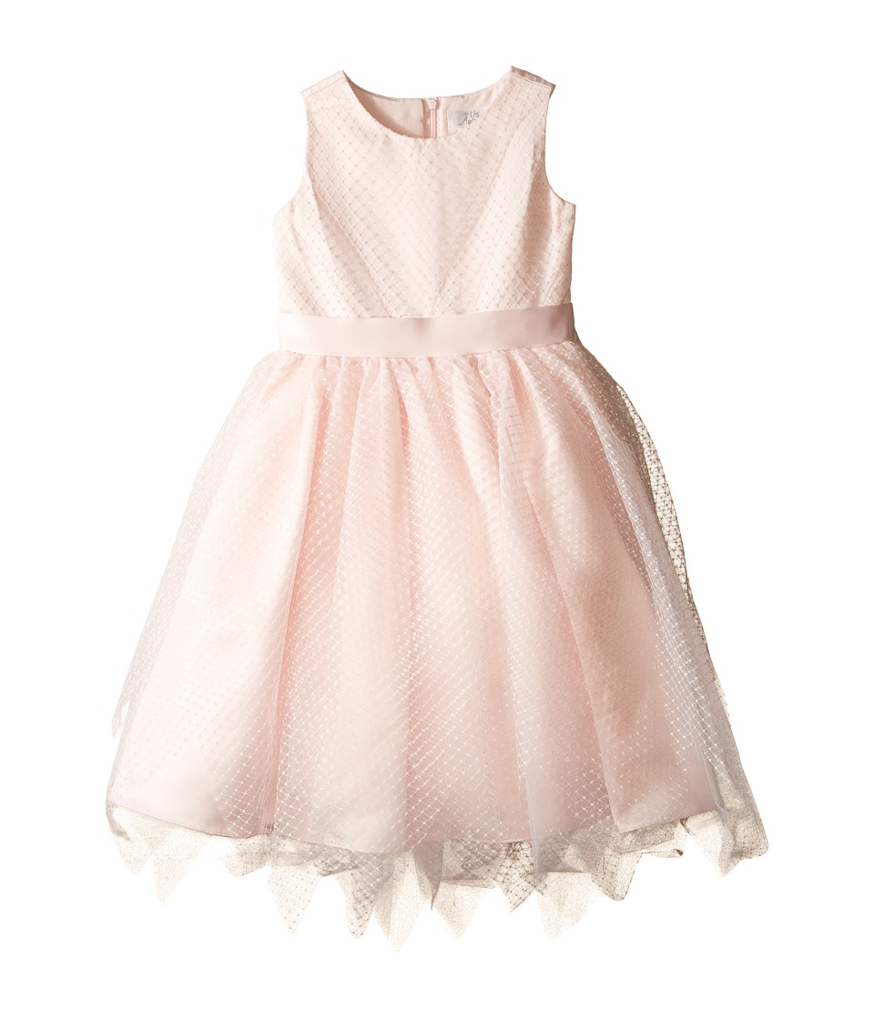 Us Angels - Dot Netting Sleeveless Dress w/ Tiered Hanky Hem Skirt (Little Kids) (Blush) Girl's Dress
