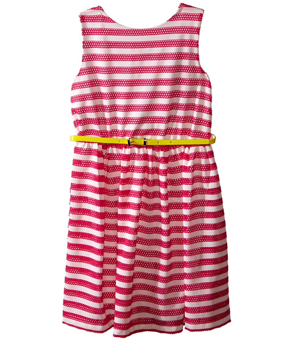 Us Angels - Scuba Mesh Sleeveless Bow Back Dress w/ Belt Full Skirt (Big Kids) (Fuchsia) Girl's Dress