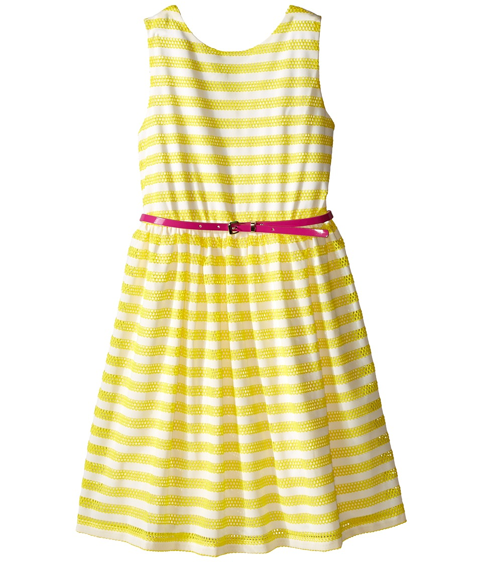 Us Angels - Scuba Mesh Sleeveless Bow Back Dress w/ Belt Full Skirt (Big Kids) (Yellow) Girl's Dress