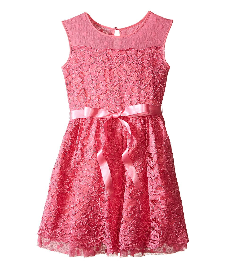 Us Angels - Lace Dress w/ Drop Shoulder Illusion Neckline w/ Belt Full Skirt (Big Kids) (Carnation) Girl's Dress