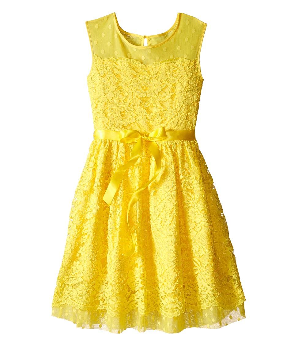 Us Angels - Lace Dress w/ Drop Shoulder Illusion Neckline w/ Belt Full Skirt (Big Kids) (Daffodil) Girl's Dress