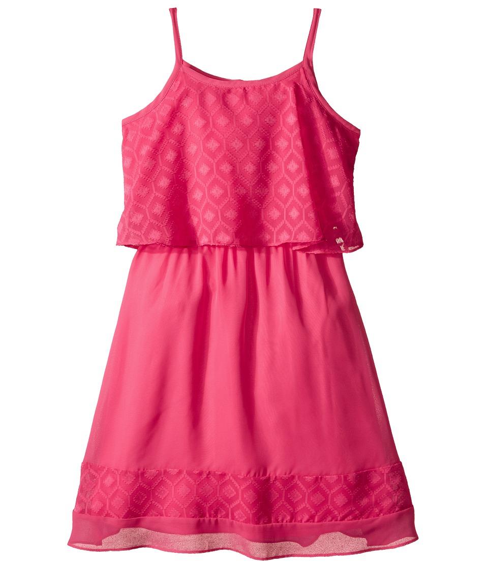 Us Angels - Textured Chiffon Cami Popover w/ Full Banded Skirt (Big Kids) (Fuchsia) Girl's Dress