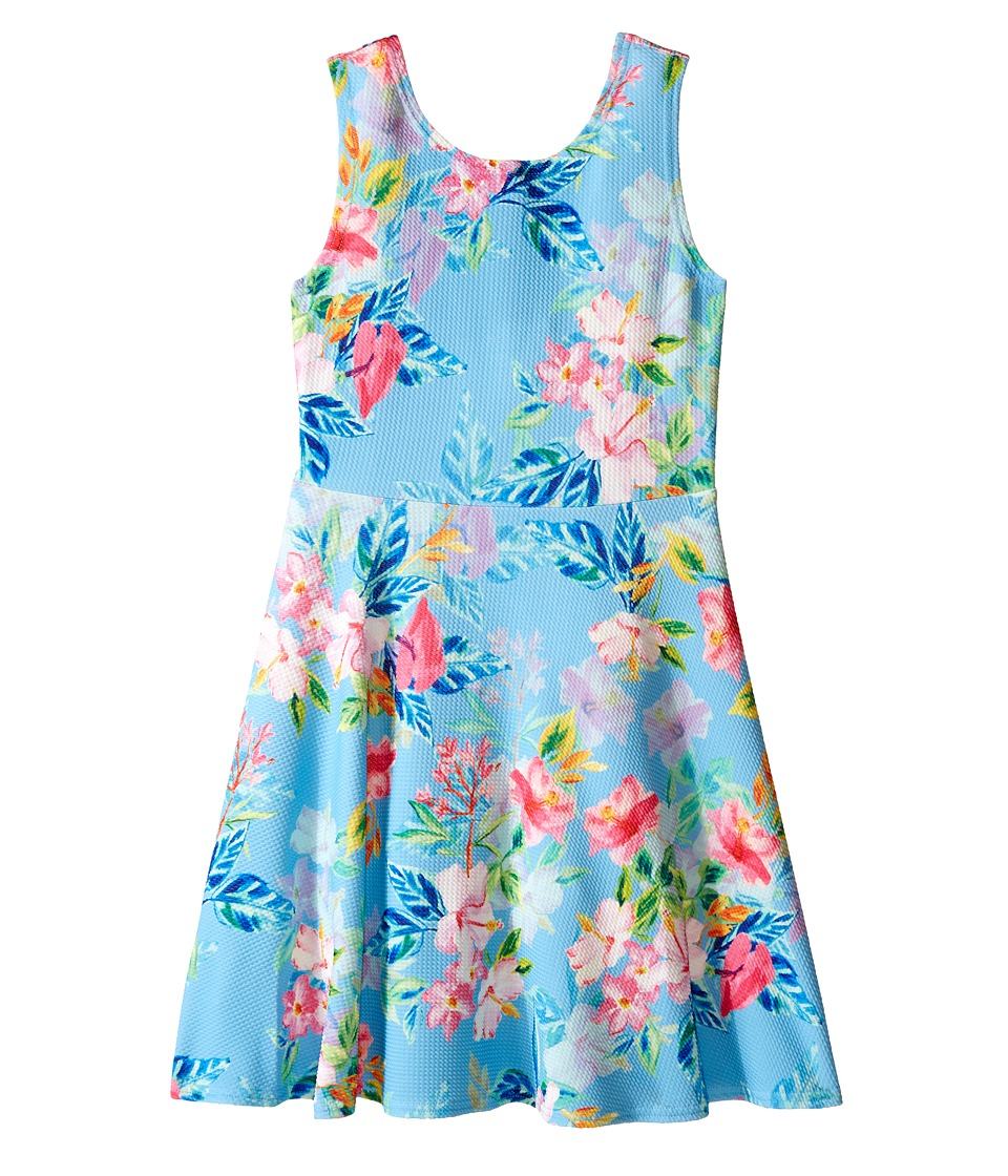 Us Angels - Printed Pique Knit Sleeveless Dress w/ Open Back Flare Skirt (Big Kids) (Multi) Girl's Dress