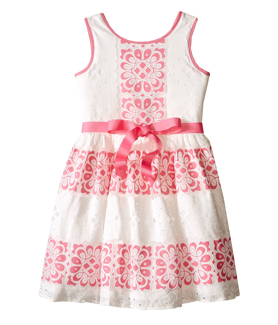 Us Angels - Sleeveless Lace Dress w/ Cut Out Back Skirt (Big Kids) (Carnation) Girl's Dress