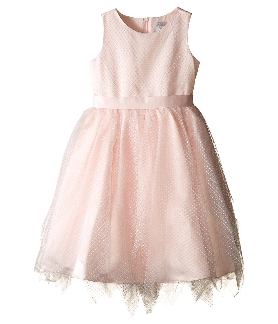 Us Angels - Dot Netting Sleeveless Dress w/ Tiered Hanky Hem Skirt (Big Kids) (Blush) Girl's Dress