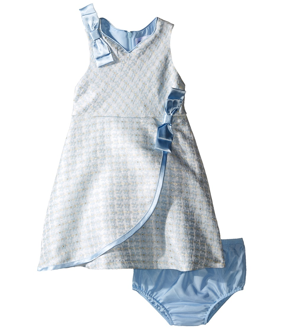 Us Angels - Brocade Sleeveless Dress w/ Satin Ribbon Trim (Infant) (Blue) Girl's Dress