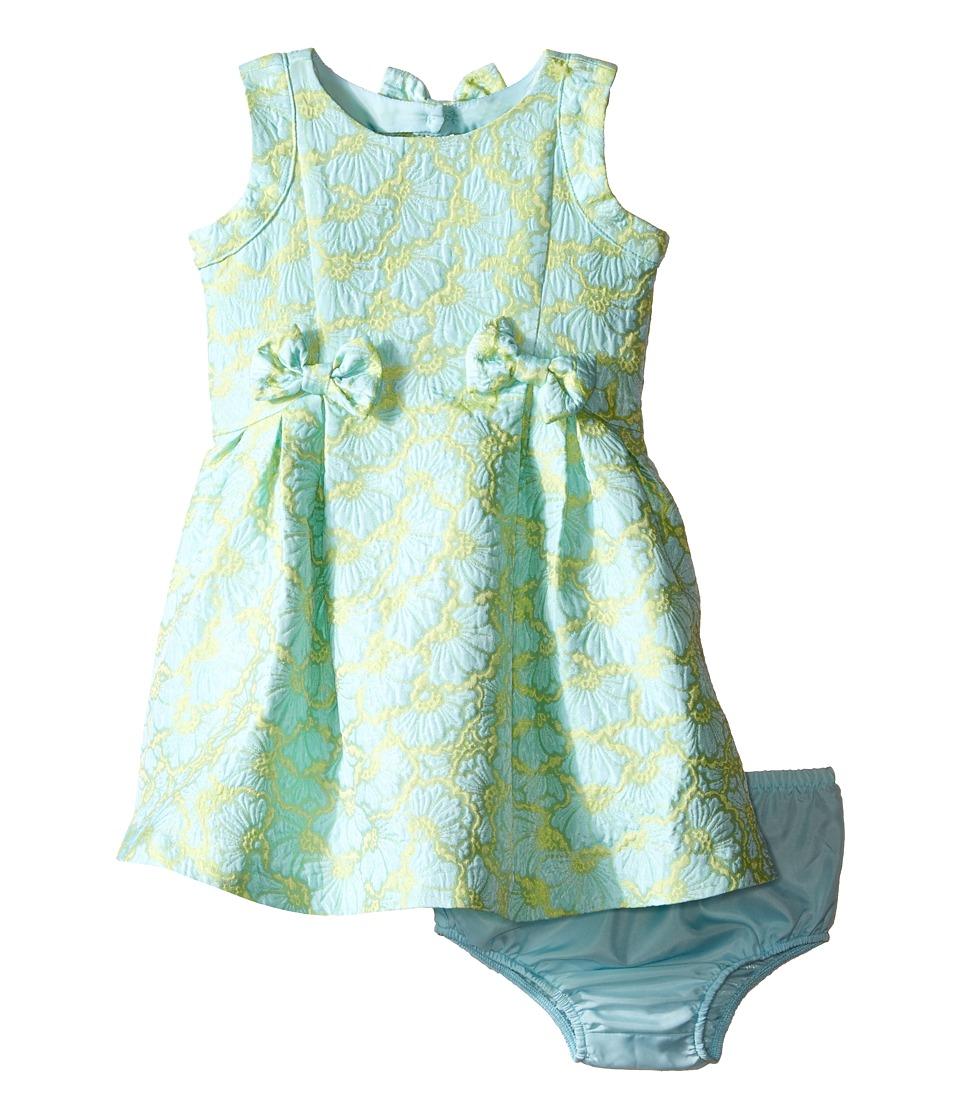 Us Angels - Brocade Sleeveless Dress w/ Bow Trim Back Cut Out (Infant) (Mint) Girl's Dress