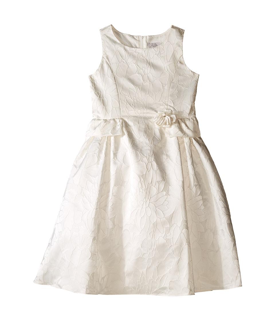 Us Angels - Floral Brocade Ballerina Length Dress (Big Kids) (Ivory) Girl's Dress