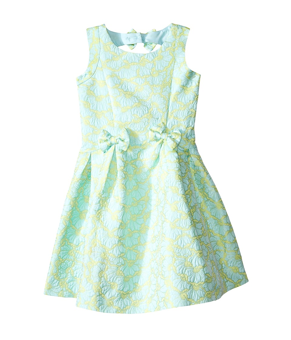 Us Angels - Brocade Sleeveless Dress w/ Bow Trim Back Cut Out (Toddler/Little Kids) (Mint) Girl's Dress