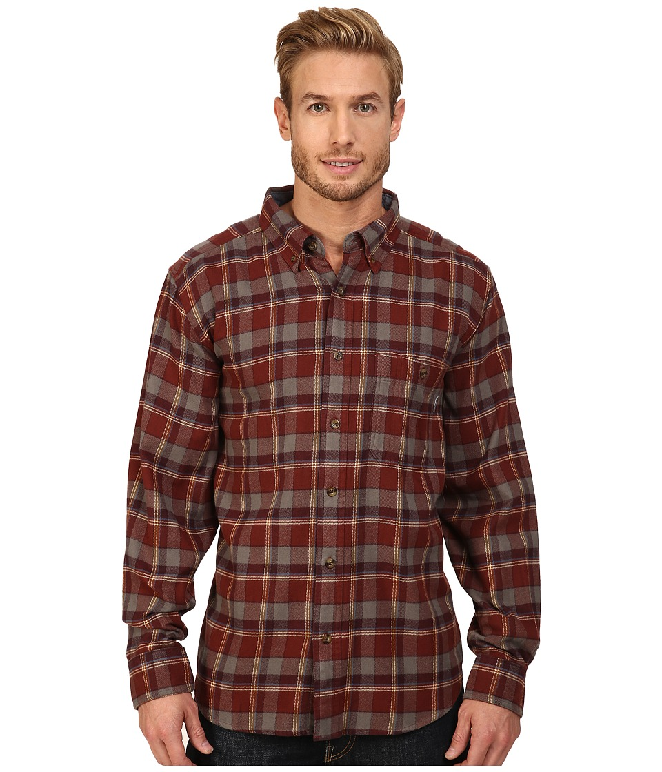 Woolrich - Trout Run Flannel Shirt (Red Wood) Men's Long Sleeve Button Up