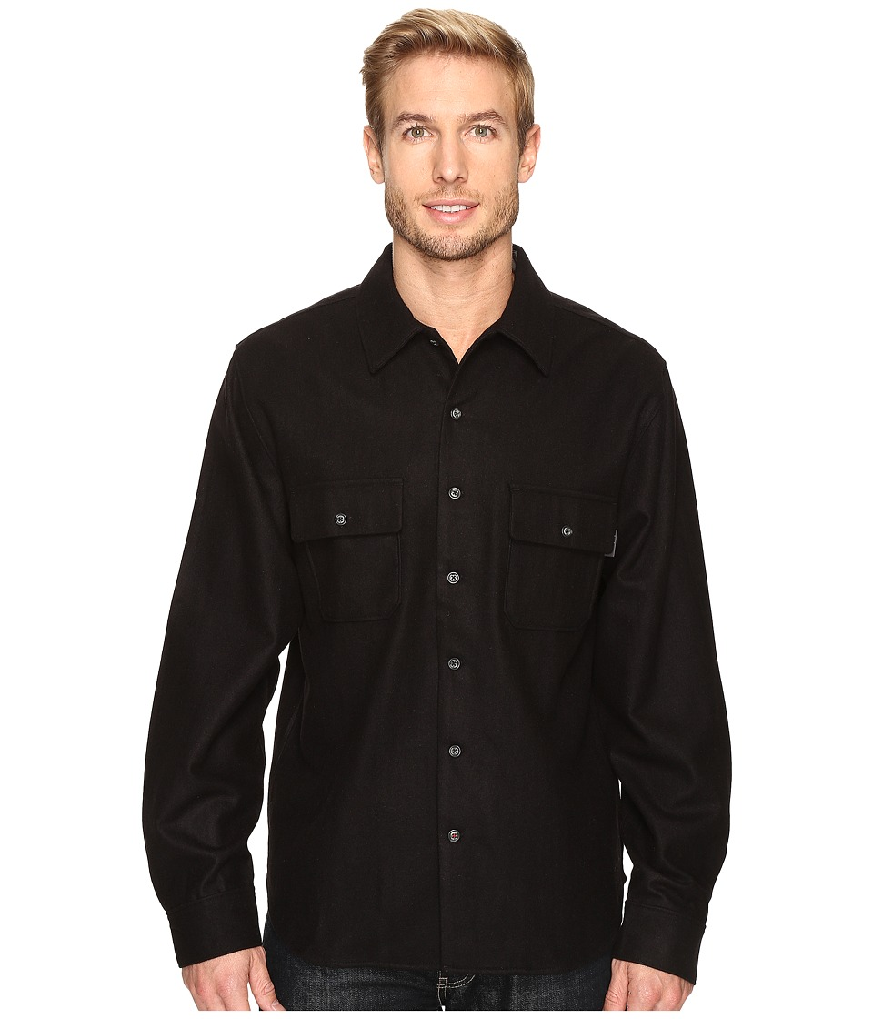 Woolrich - Bering Wool Plaid Shirt (Solid Black) Men's Clothing