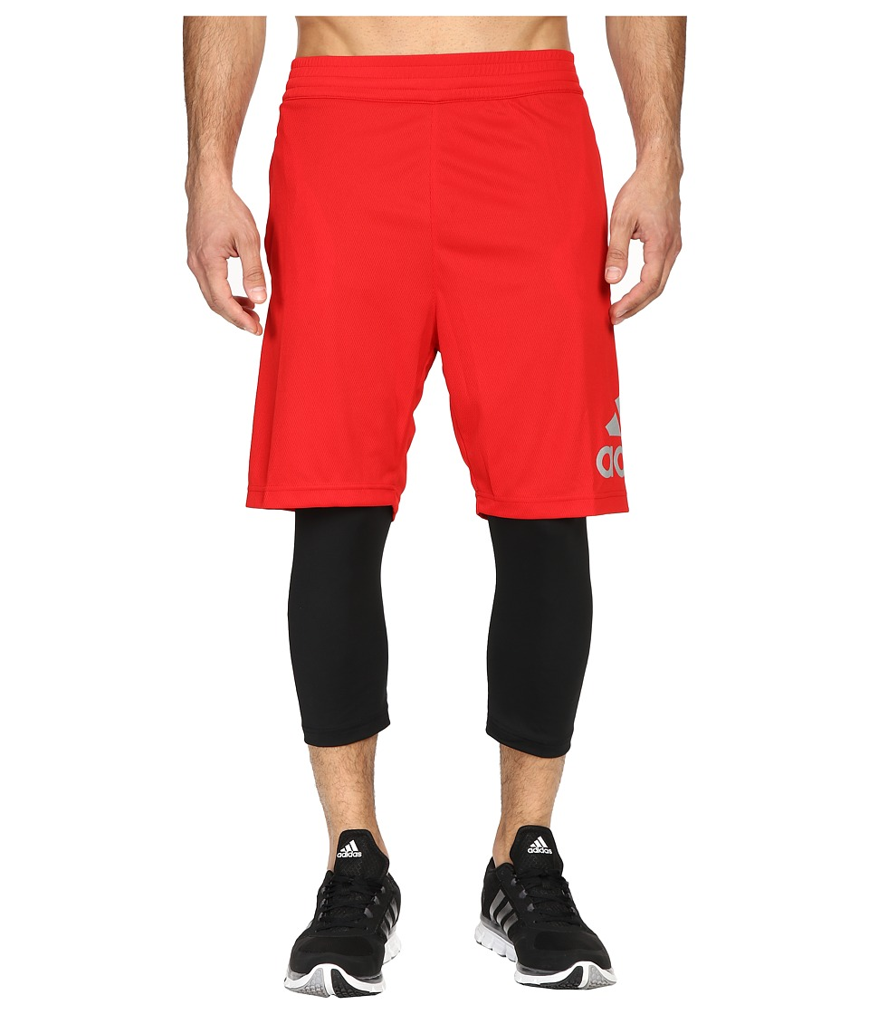 adidas - Crazylight 2-in-1 Shorts (Scarlet/Black) Men's Shorts
