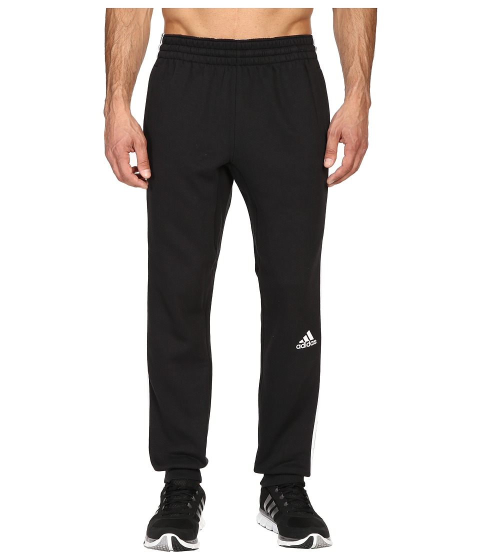 adidas - Slim 3-Stripes Sweatpants (Black/White) Men's Workout