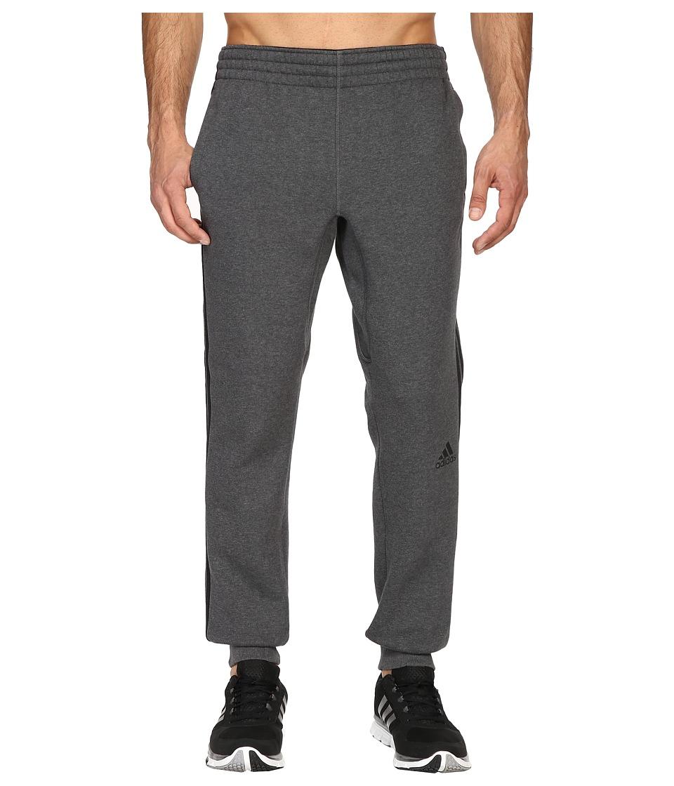 adidas - Slim 3-Stripes Sweatpants (Dark Grey Heather/Black) Men's Workout