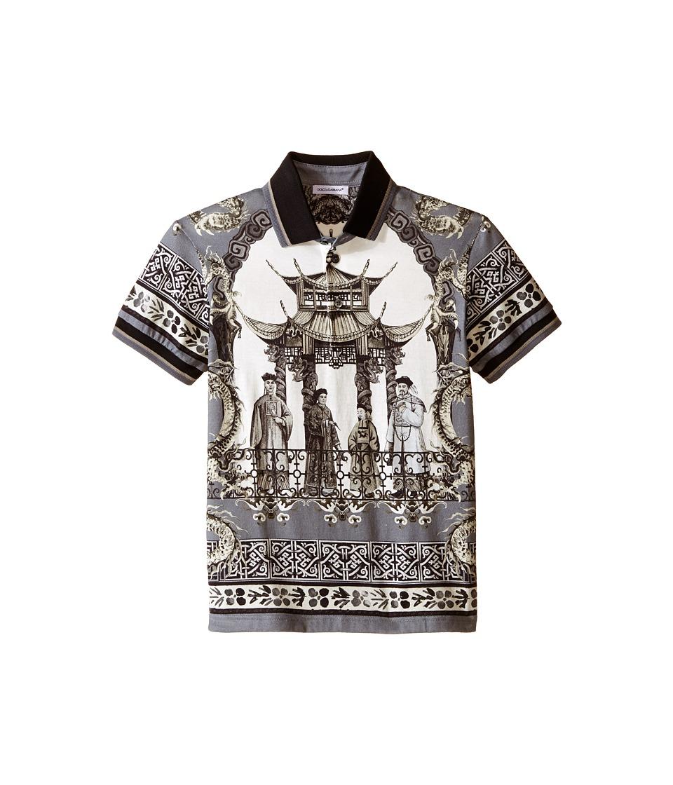 Dolce & Gabbana Kids - Pagoda Printed T-Shirt (Toddler/Little Kids) (Grey/Print) Boy's Short Sleeve Knit