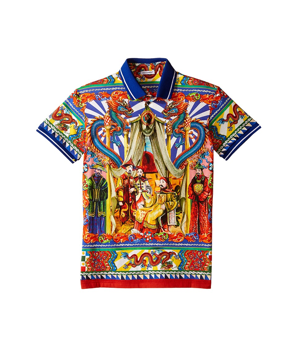 Dolce & Gabbana Kids - Theater Printed Polo (Big Kids) (Blue/Print) Boy's Short Sleeve Knit