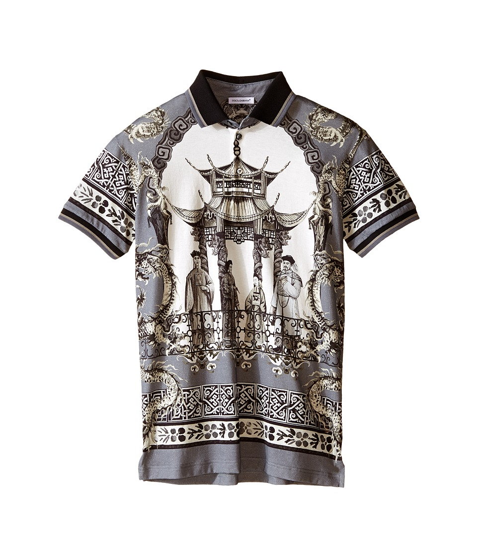 Dolce & Gabbana Kids - Pagoda Printed T-Shirt (Big Kids) (Grey/Print) Boy's Short Sleeve Knit