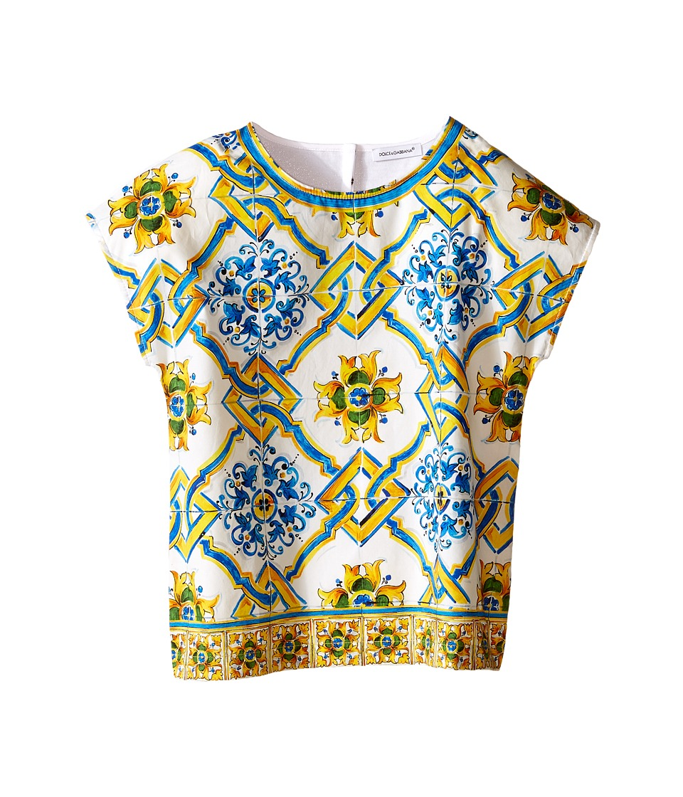 Dolce & Gabbana Kids - Medallion Print Top (Toddler/Little Kids) (Tile Print) Girl's T Shirt