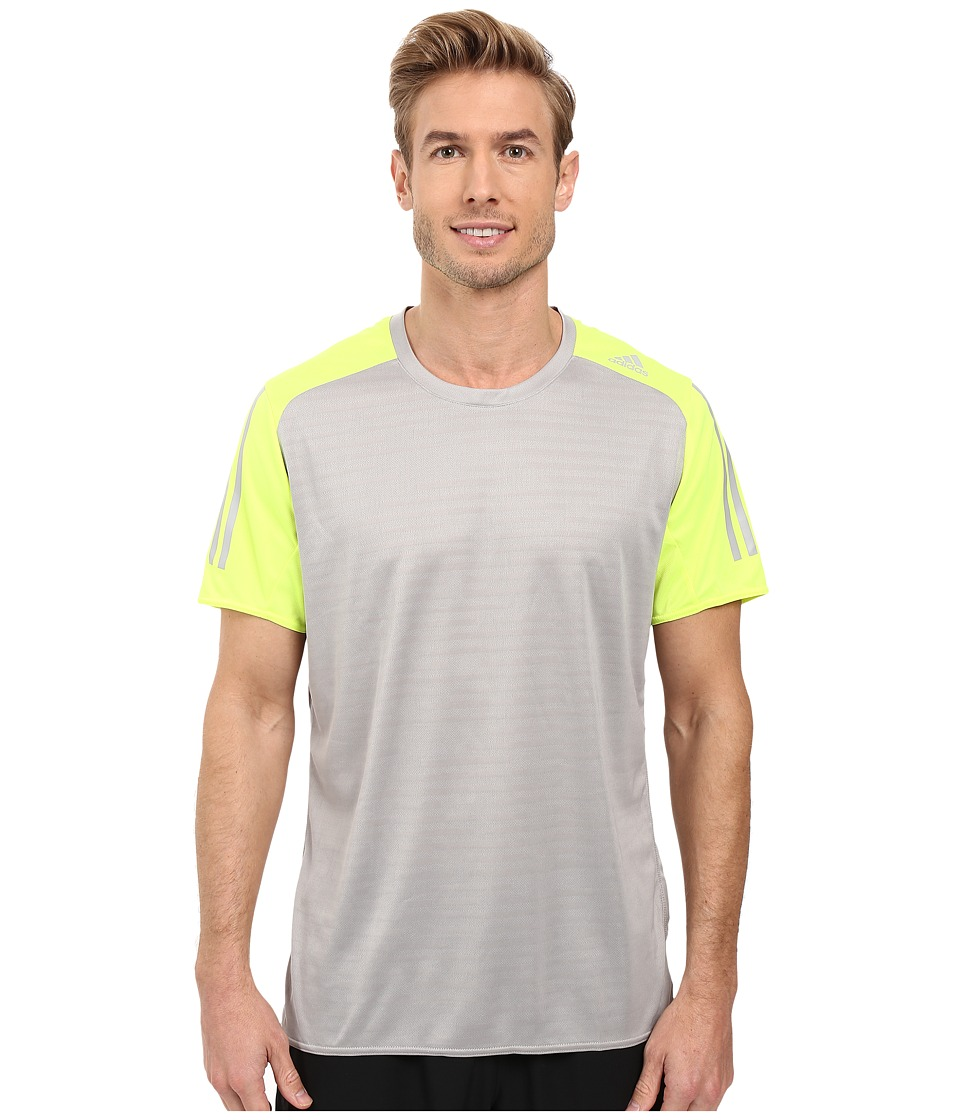 adidas - Response Short Sleeve Tee (MGH Solid Grey/Solar Yellow) Men's T Shirt
