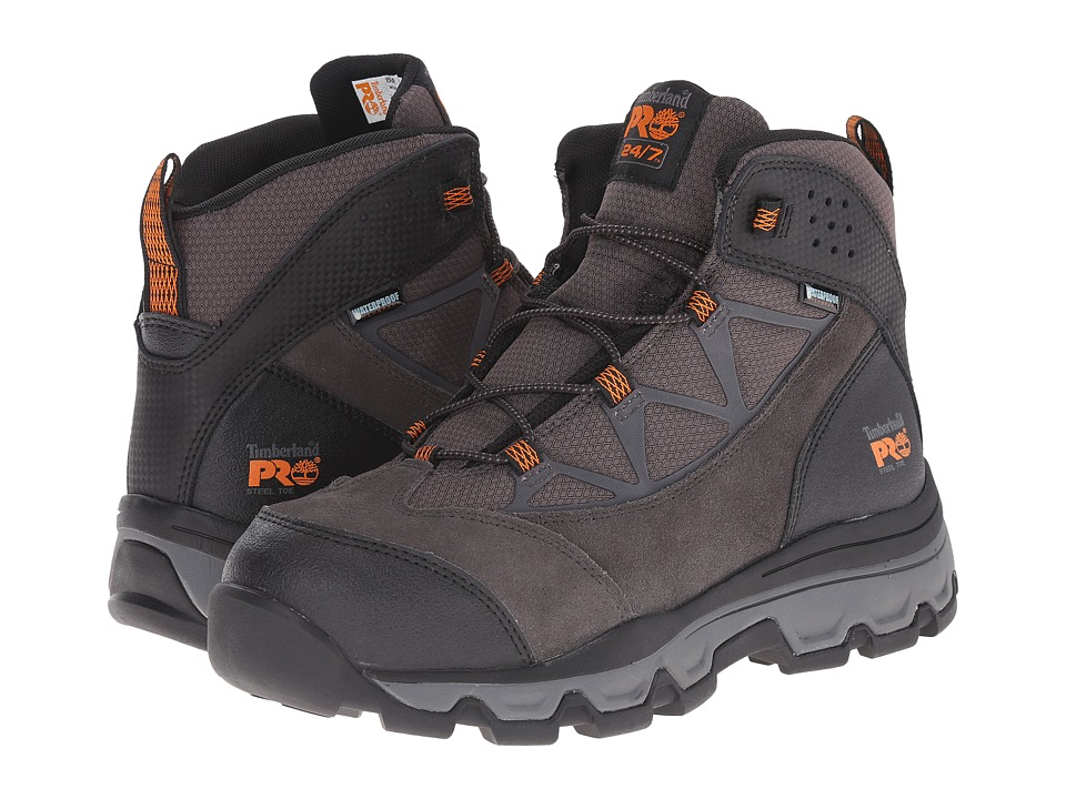 Timberland PRO - Rockscape 6 Steel Safety Toe Waterproof Mid (Grey Suede/Orange Pops) Men's Work Lace-up Boots