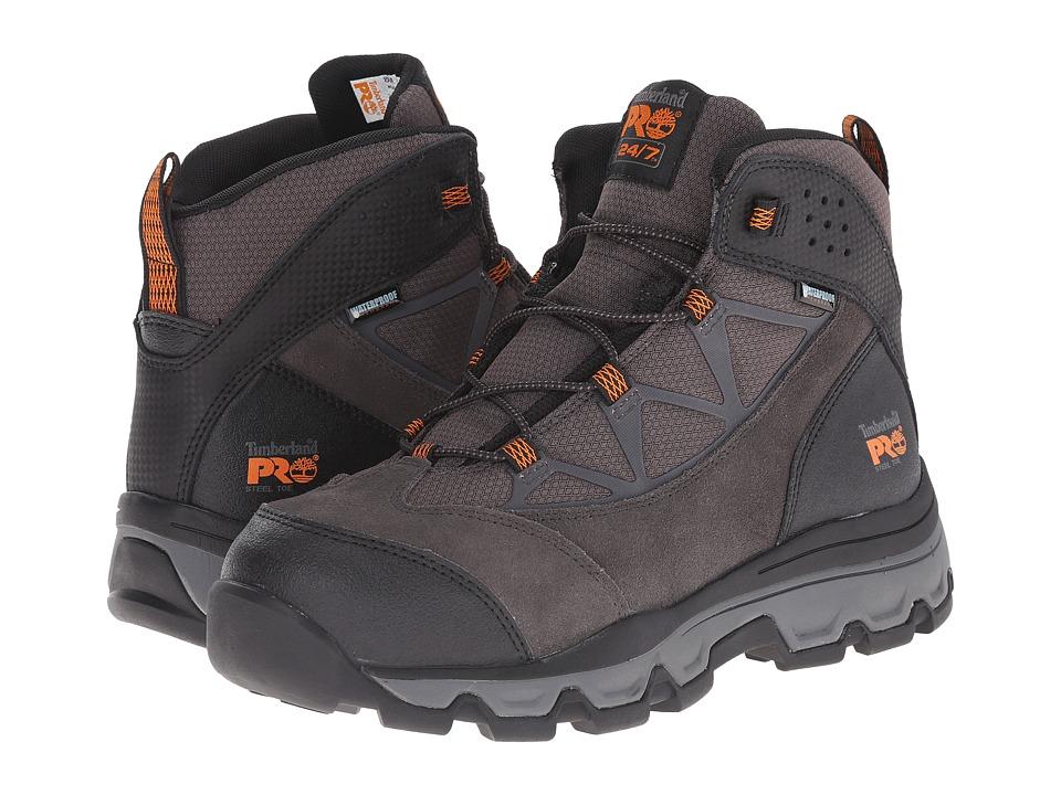 Timberland PRO Rockscape 6 Steel Safety Toe Waterproof Mid (Grey Suede/Orange Pops) Men