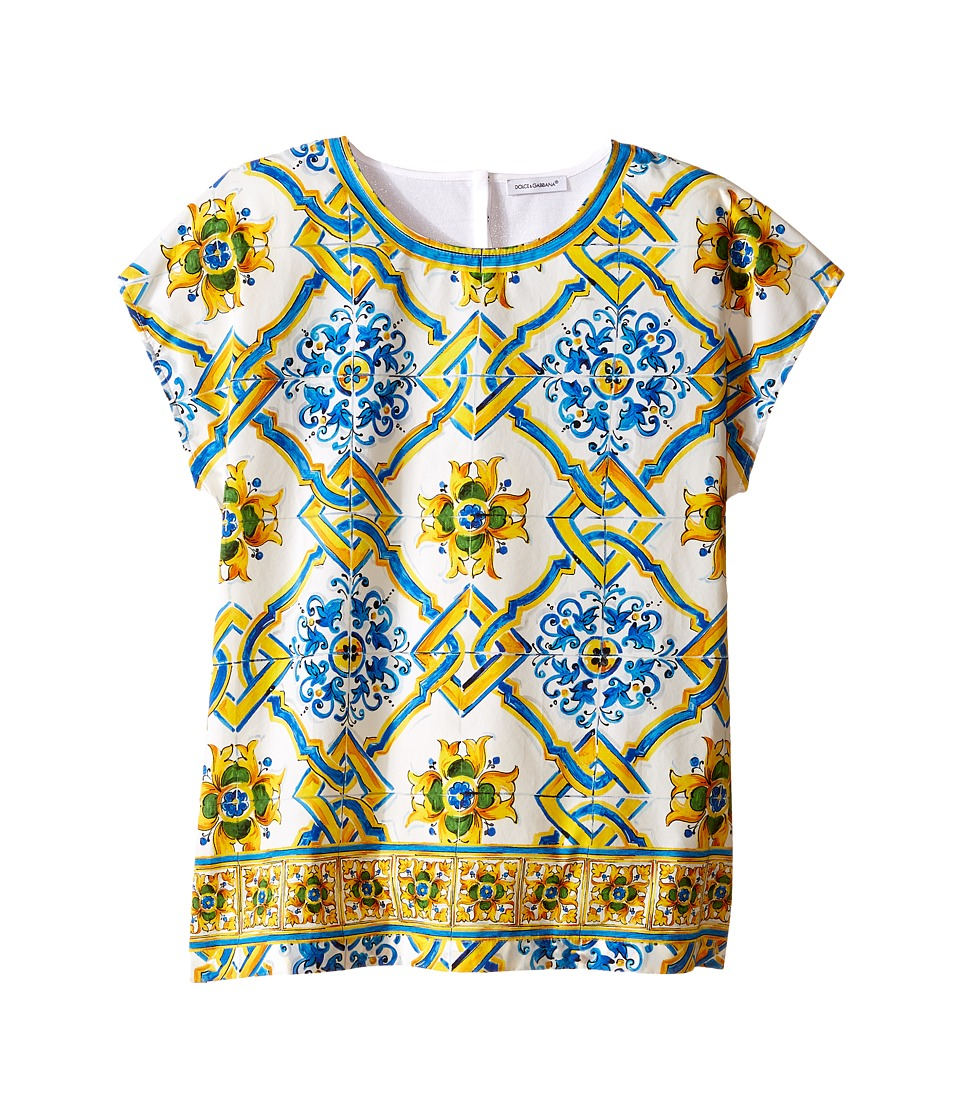 Dolce & Gabbana Kids - Medallion Print Top (Big Kids) (Tile Print) Girl's T Shirt