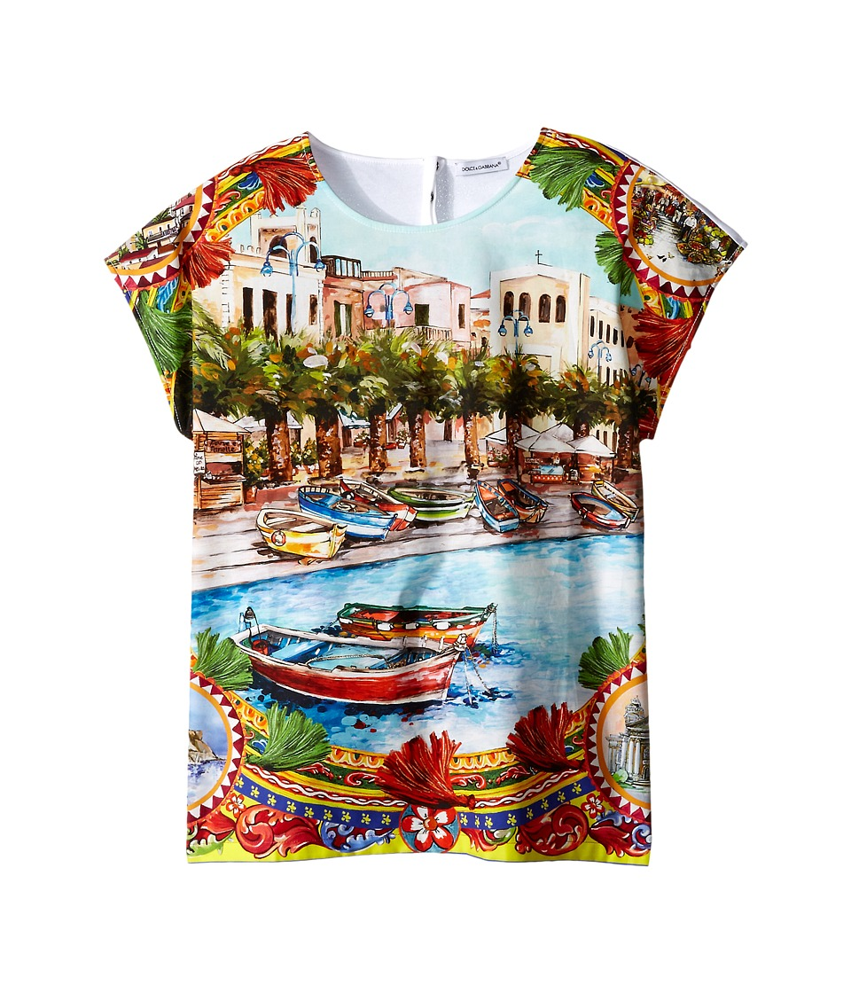 Dolce & Gabbana Kids - River Print T-Shirt (Big Kids) (Multi Print) Girl's Short Sleeve Pullover