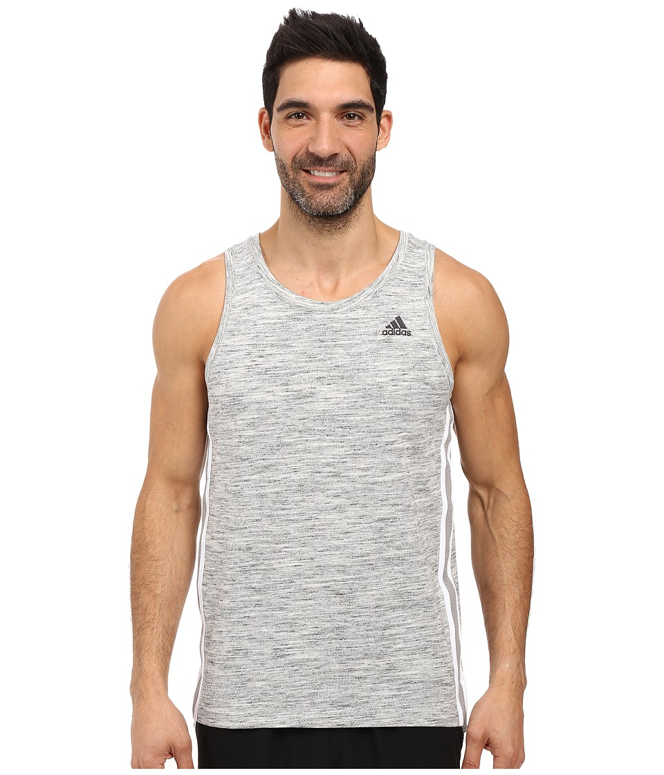 adidas - Heather Tank Top (Medium Grey Heather/White) Men's Sleeveless