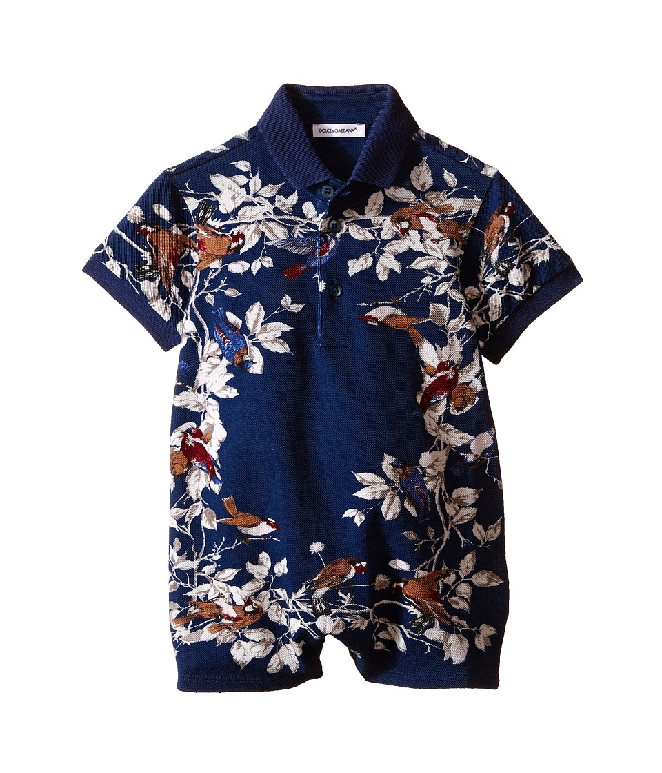 Dolce & Gabbana Kids - Pique Polo One Piece (Infant) (Blue/Print) Boy's Jumpsuit & Rompers One Piece