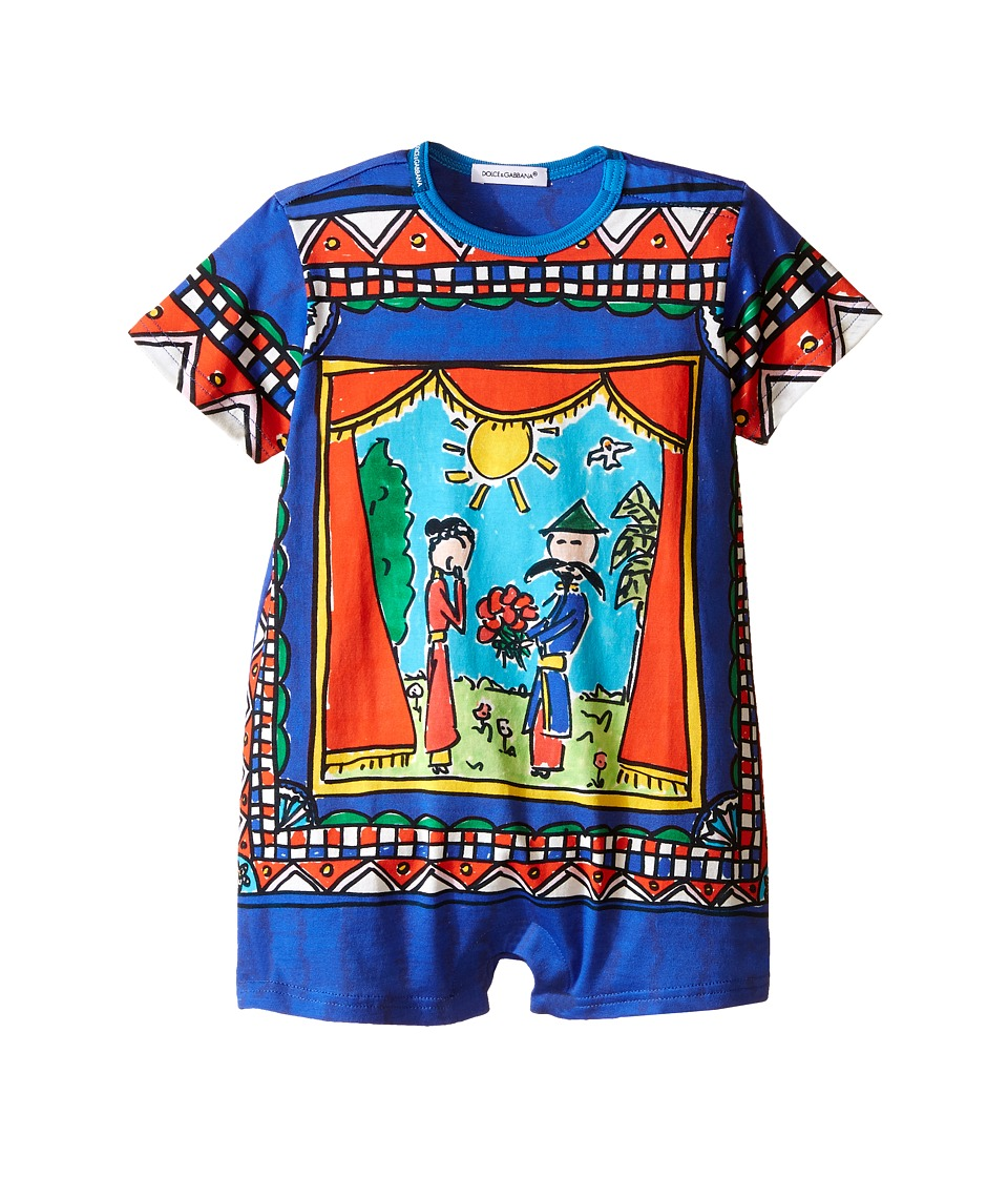 Dolce & Gabbana Kids - Jersey Theater Print One Piece (Infant) (Bright Blue Print) Boy's Jumpsuit & Rompers One Piece