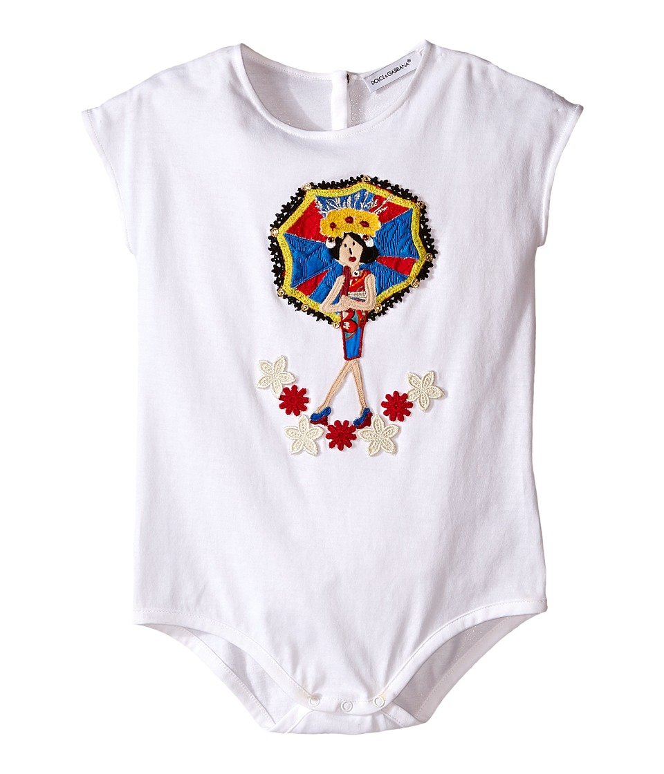 Dolce & Gabbana Kids - Jersey Applique One Piece (Infant) (White) Girl's Jumpsuit & Rompers One Piece