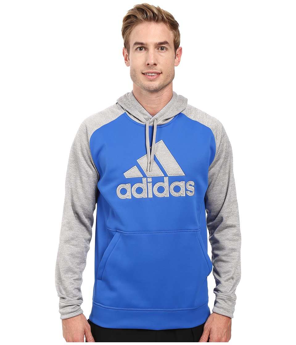 adidas - Team Issues Fleece Pullover Hoodie - Applique (Blue/Light Grey Heather/Blue) Men's Sweatshirt