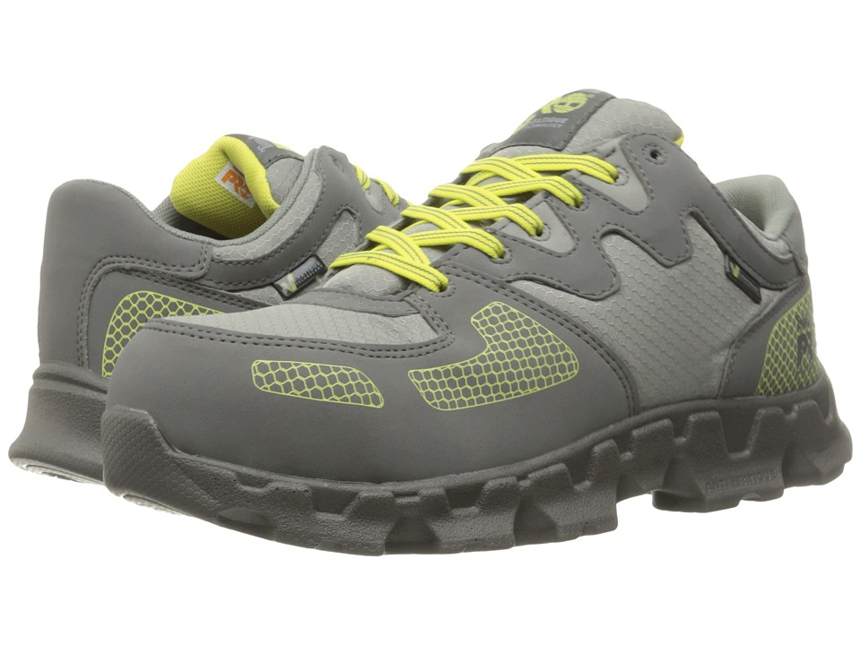 Timberland PRO - Powertrain Alloy Safety Toe (Grey Synthetic/Yellow Pops) Women's Lace-up Boots