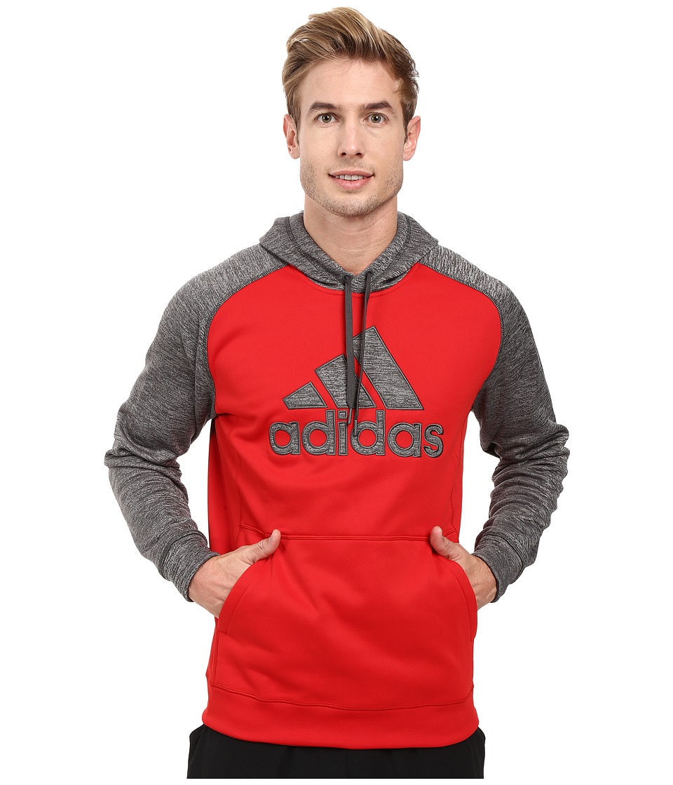 adidas - Team Issues Fleece Pullover Hoodie - Applique (Scarlet/Dark Grey Heather/Scarlet) Men's Sweatshirt