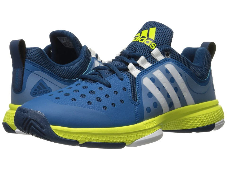 adidas - Barricade Classic Bounce (Tech Steel/White/Shock Slime) Men's Tennis Shoes