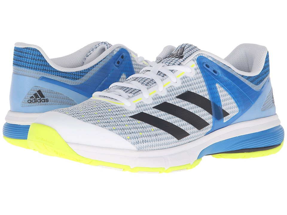 adidas - Court Stabil 13 (White/Black/Shock Blue) Men's Volleyball Shoes