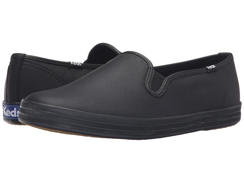 Keds - Champion-Leather Slip-On (Black/Black) Women's Flat Shoes