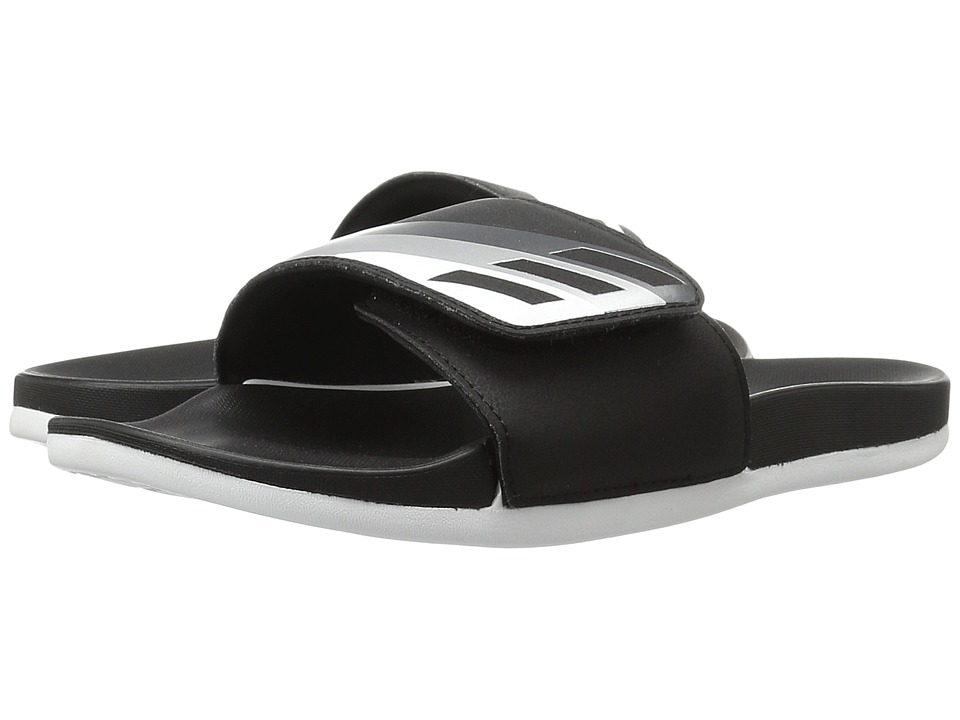 adidas - Adilette Cloudfoam Ultra Adjustable (Black/Night Metallic/Silver Metallic) Women's Slide Shoes