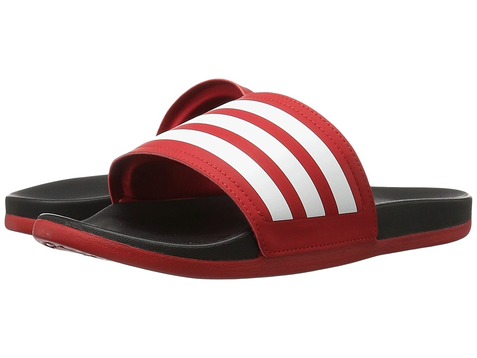 adidas - Adilette Cloudfoam Ultra Stripes (Scarlet/White/Black) Women's Slide Shoes