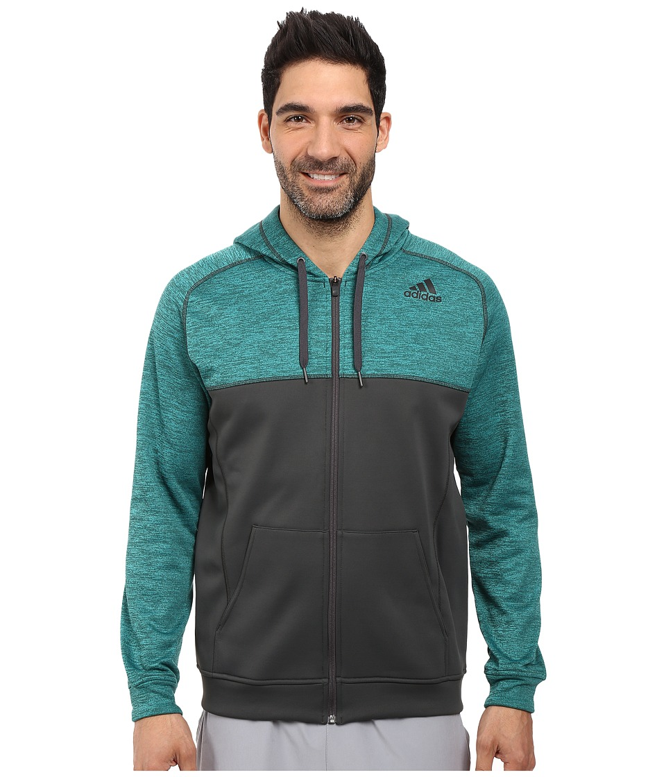 adidas - Team Issue Fleece Full-Zip Hoodie - Block (EQT Green/DGH Solid Grey) Men's Sweatshirt
