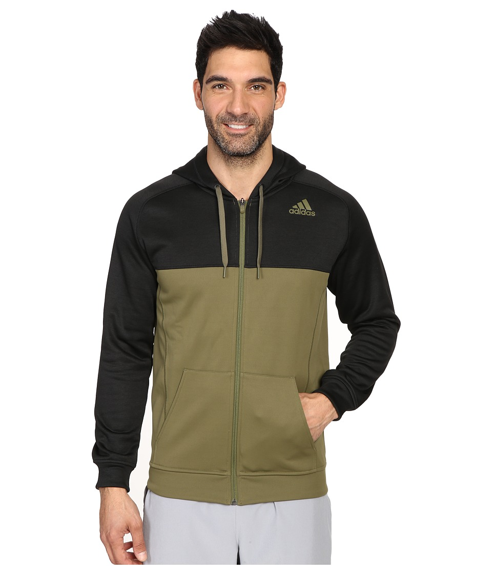 adidas - Team Issue Fleece Full-Zip Hoodie - Block (Olive Cargo/Black Heather/Olive Cargo) Men's Sweatshirt