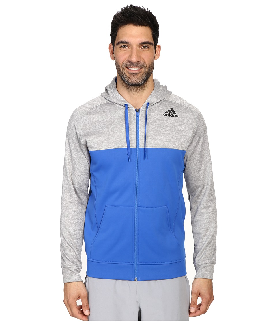 adidas - Team Issue Fleece Full-Zip Hoodie - Block (Light Grey Heather/Blue) Men's Sweatshirt