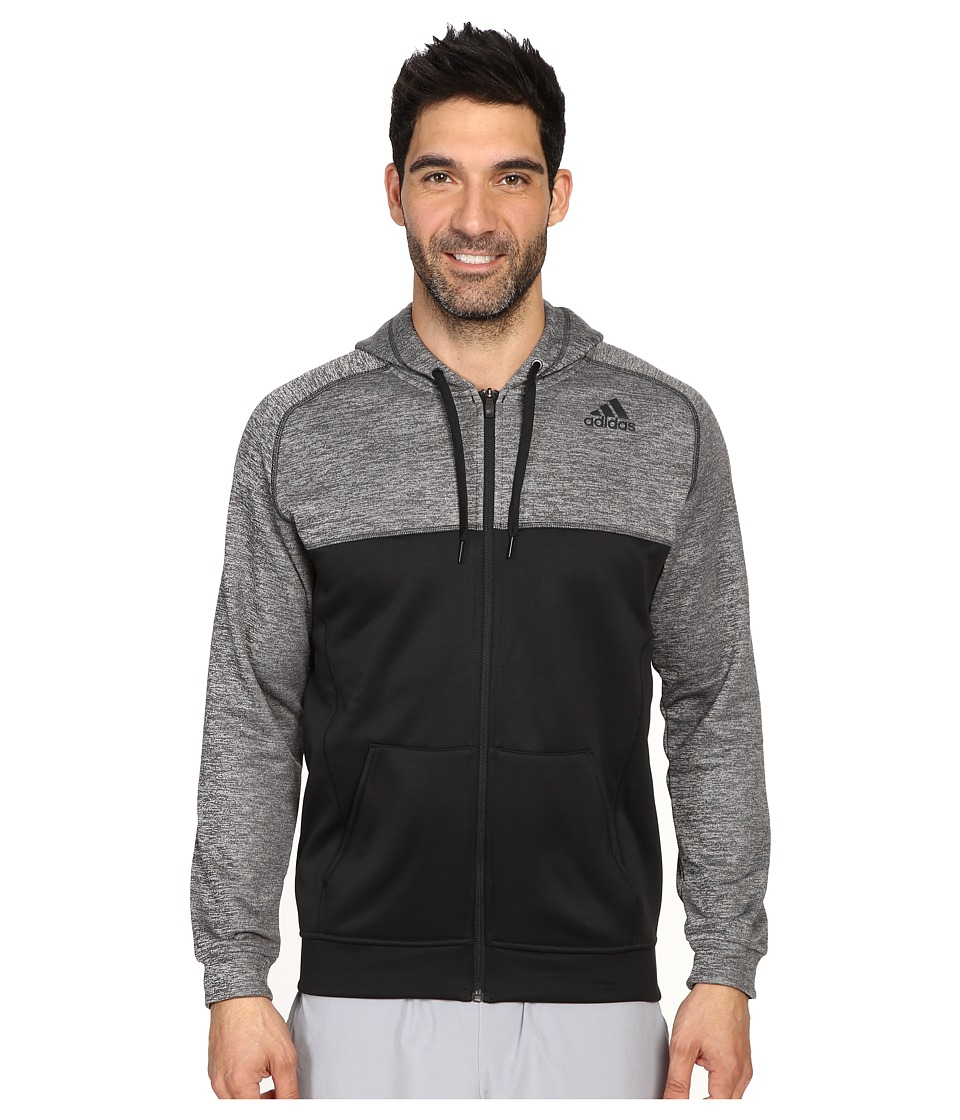 adidas - Team Issue Fleece Full-Zip Hoodie - Block (Black/Dark Grey Heather/Black) Men's Sweatshirt