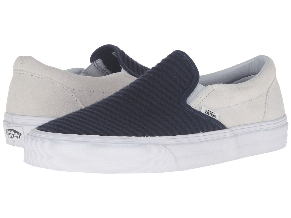 Vans - Classic Slip-On ((Suede/Woven) Navy Blue/True White) Skate Shoes